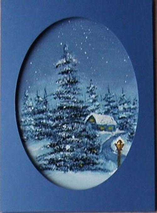 Einfahrt zum Ort - Passepartout Weihnachtskarte mit handgemaltem Ölbild. Retro ist Trend! Schreiben Sie eine individuelle Weihnachtskarte by Daninas Kunst-Werkstatt.