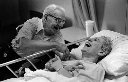 I hope when we're this old...we can still laugh like this...no matter the situation :) What a precious moment