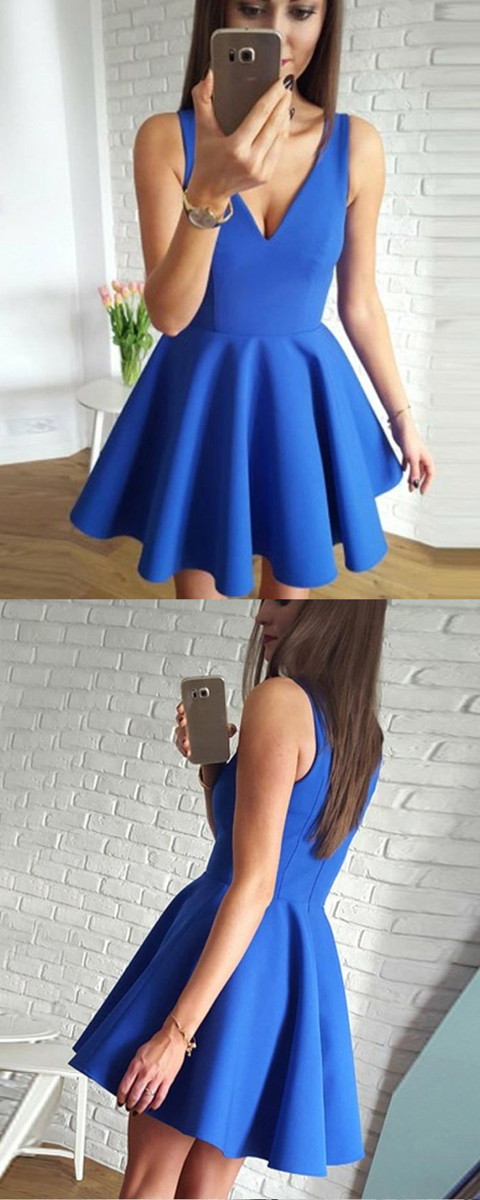 Vneck blue simple pleated satin homecoming party dress hd