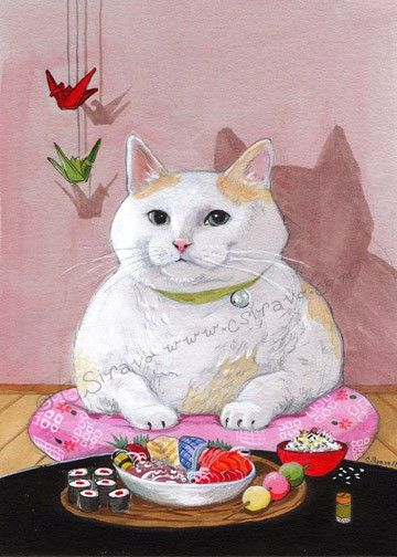 Sashimi Sweetite Sushi Cat Matted Print by BluebirdieBootique, $20.00