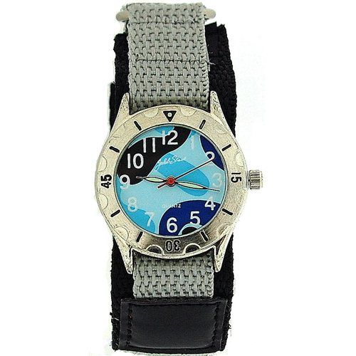 Jakob Strauss Blue Army Camouflage Velcro Strap Boys Sports Watch JAST01