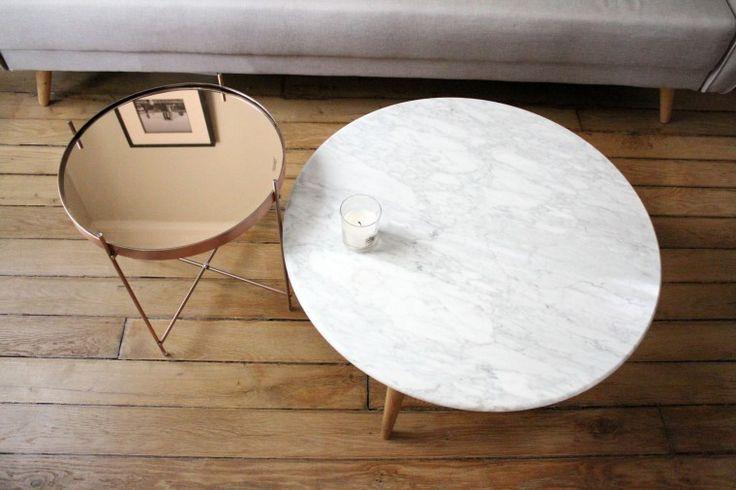 table basse marbre cuivre