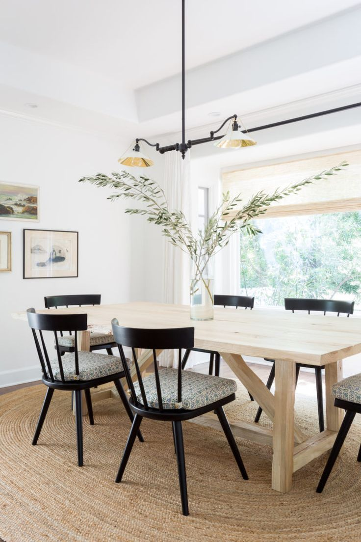 Black Dining Chairs With Light Wood Table Simple Dining Room