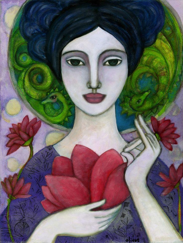 Kuan-Yin - Goddess of Mercy - Spiritual Art - Gift for her - Boho - Goddess art - wall art decor - Boho art - Buddhist art by OlivosARTstudio on Etsy