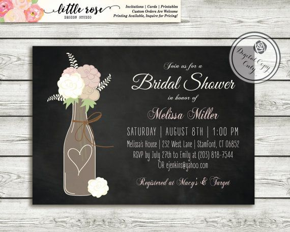 Wine Bridal Shower Invitation  Wedding Shower by LittleRoseStudio