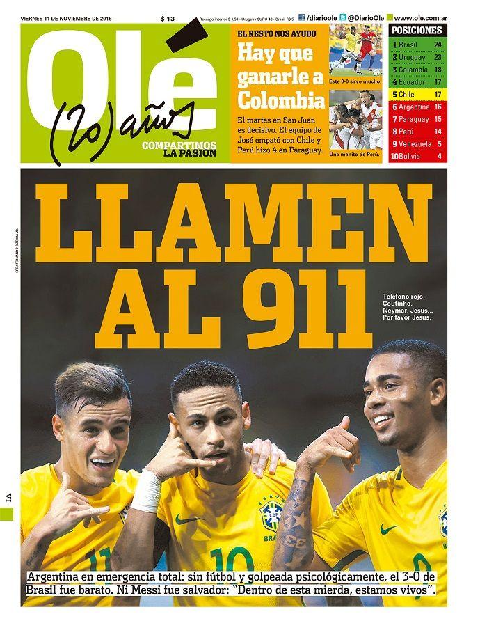 """Jornal argentino diz que 3 a 0 """"foi barato"""": """"Chamem a emergência"""" #globoesporte"""