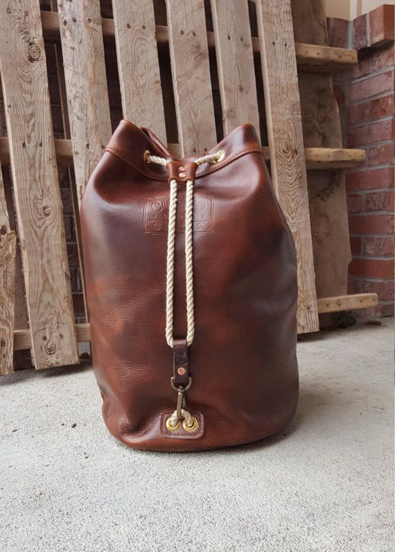 Leather Duffle Bag  Tan Leather Ditty Bag  Leather