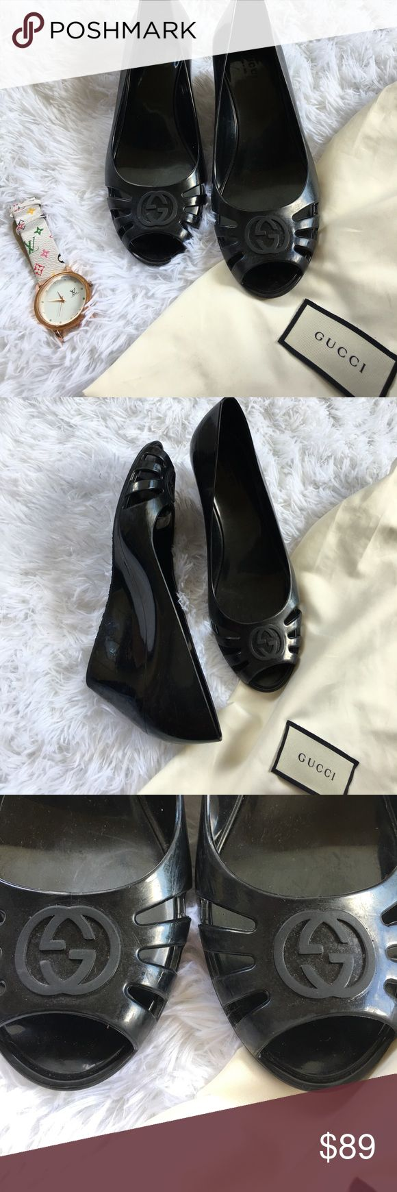 Gucci marola jelly wedges These are authentic, all pics included and there are scuffs on the heel which is pictured. No box or dust bag included. Open to reasonable offers! Smoke & pet free home. Any questions please ask. I am an 8/8.5 but these fit a little small. Gucci Shoes Heels