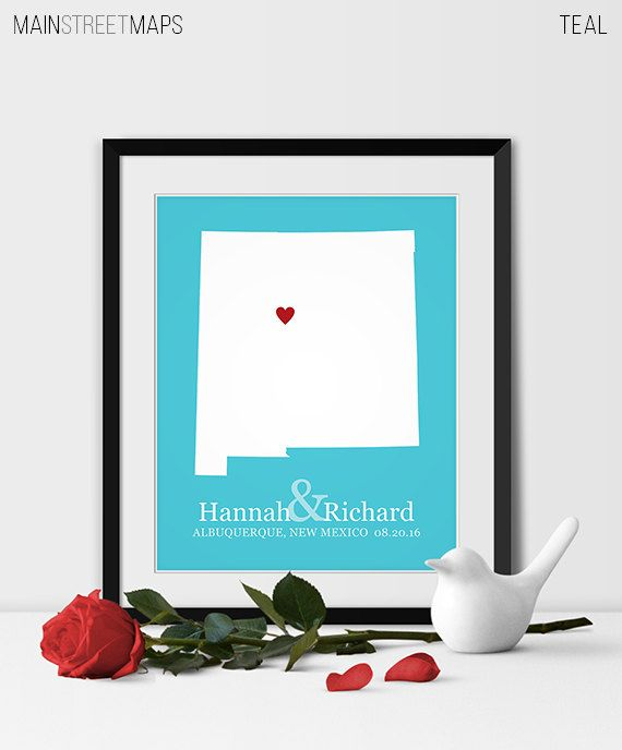 New Mexico Art Print, New Mexico Wedding Map of Albuquerque Gift for Couples Wedding Gift 1st Anniversary Gift Bride & Groom Gift -Any STATE