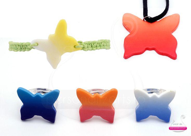 Polymer clay jewellery - gradient butterflies
