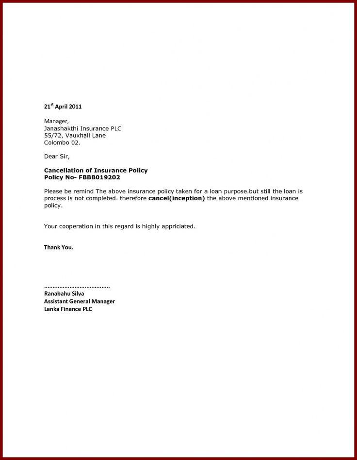 Fresh Insurance Cancellation Letter Kenbachor Kenbachor