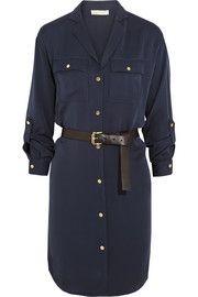 MICHAEL Michael KorsBelted silk-georgette shirt dress