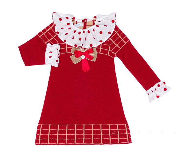 Vestido Punto Jacquard Cuello Volante Rojo & Blanco