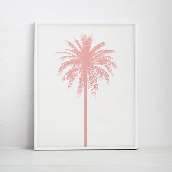 Pink Wall Decor Palm Tree Print Nursery Print Pink Nursery Print Beach Art Pink Palm Tree Pink With Images Pink Artwork Palm Tree Artwork Palm Tree Art