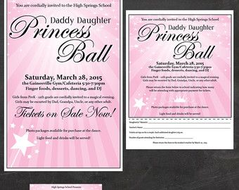 Daddy-Daughter Dance (Father and Daughter Dancing) - Event Custom Printable Package - flyer, tickets and poster, PTA, PTO or Church