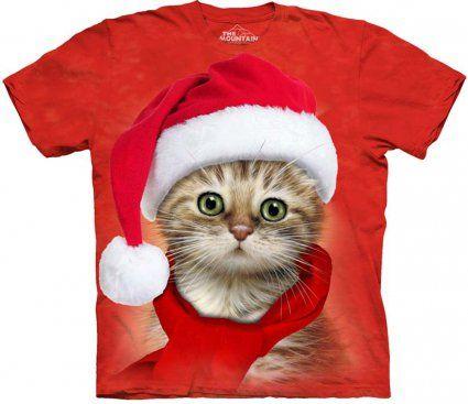 Santa Cat Red - The Mountain - świąteczna koszulka z kotem - sklep internetowy www.veoveo.pl