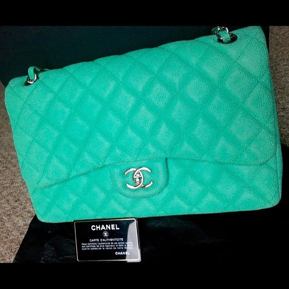 Chanel double flap jumbo sude caviar green Fullbox with receipt! Offer meee CHANEL Bags Shoulder Bags