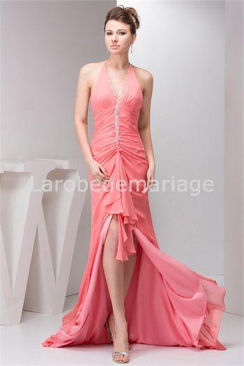 Robe de bal de promo sexy en mousseline de soie licou à traîne balai € 113.99