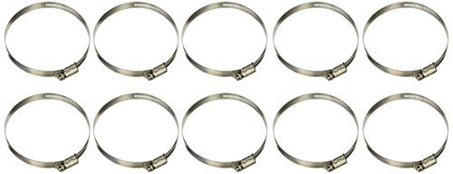 "Breeze 63064H Marine Grade Power-Seal Stainless Steel Hose Clamp, Worm-Drive, SAE Size 64, 3-9/16"" to 4-1/2"" Diameter Range, 1/2"" Band Width (Pack of 10)  STAINLESS STEEL WORM-DRIVE HOSE CLAMP  High Corrosion Resisting Clamp  Made in the U.S.A."