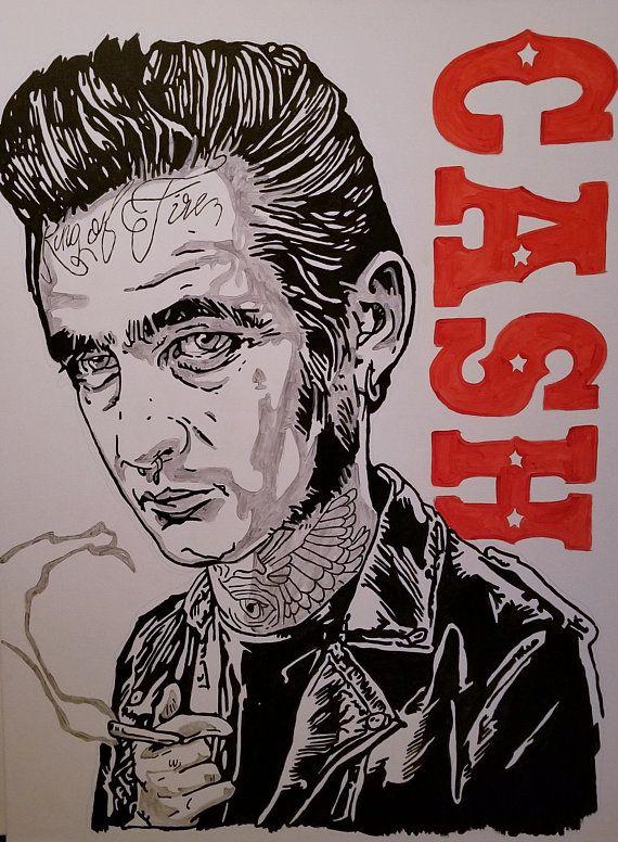 Johnny Cash Canvas Painting Digital Print Jonny Cash Wall Etsy In 2020 Johnny Cash Art Canvas Painting Art