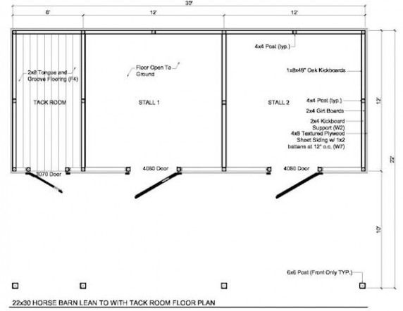 2 horse barn with feed room cheap plans | 22x30 2 Stall ...
