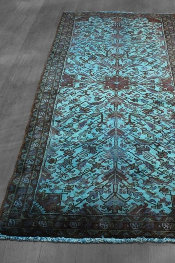 Vintage Over Dyed Persian Heriz Runner Teal Blue X By Rugs West Of Hudson On