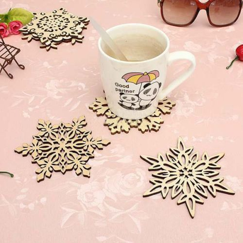 Wooden Carved Snowflake Mug Coasters Chic Holder Drinks Coffee Tea Cup Mat HOT