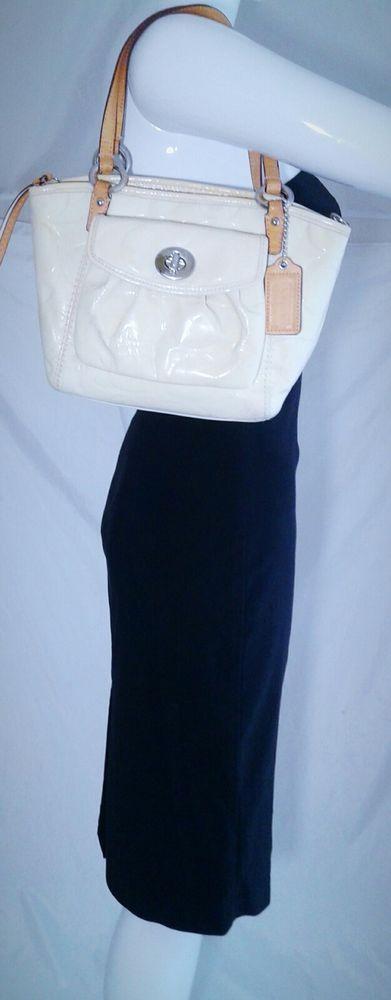 Coach Patent Leather Cream Shoulder Bag Purse Signature Monogram F14729-AS IS | Clothing, Shoes & Accessories, Women's Handbags & Bags, Handbags & Purses | eBay!