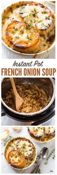 Instant Pot BEST French Onion Soup! Classic French onion soup recipe that tastes like Julia Child and Ina Garten recipes but is easy and more healthy! The pressure cooker makes it quick and you'll love all that cheese on top! #instantpot #frenchonionsoup #recipe #soup via @wellplated