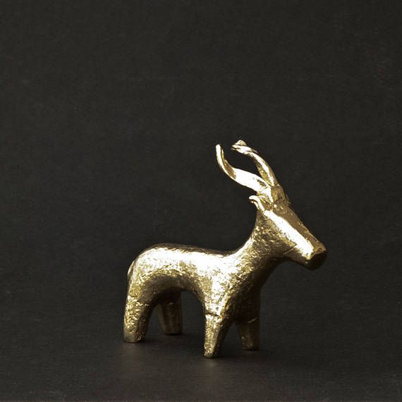 Golden Goat Santorini Greek Sculpture Ibex Bronze Statue