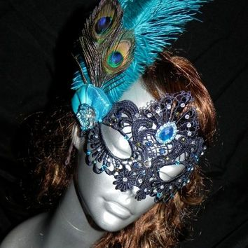 Soft Lace Black Masquerade Mask with Peacock Feathers, Clear Stones and Turquoise Accents