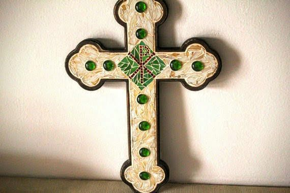 Wall hanging large mosaic cross Decorative cross as a by Psifida
