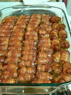Bacon Wrapped Smokies with Brown Sugar and Butter substitute full size cheese smokies and cut them the long way.  Great guys night food!