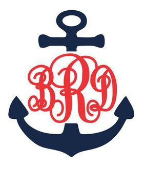 Navy Anchor Decal with Red Monogram  Initials: B R D