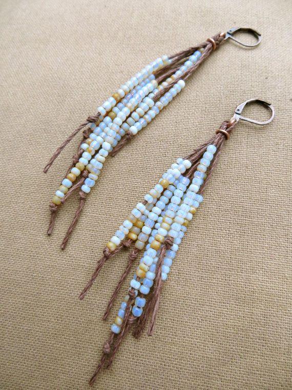 Vegan Feather Hemp Natural Earrings  by PerpetualSunshine111, $24.00
