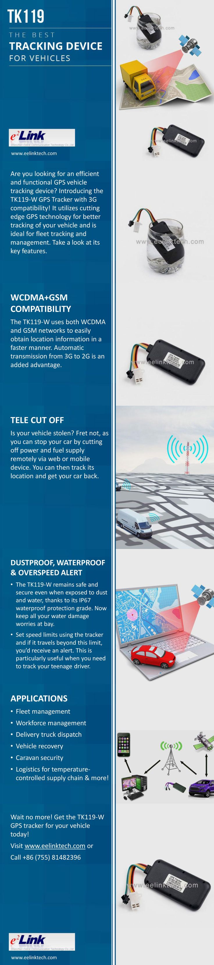 TK119-W - The Best Vehicle Tracking Device  -  The TK119-W GPS vehicle tracking device is your best choice for fleet management, easy vehicle tracking and more. For details, check out this presentation and visit http://www.eelinktech.com/