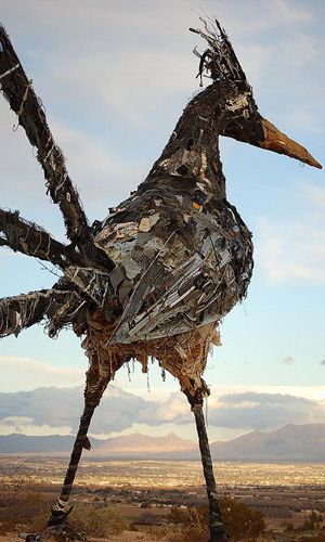 Recycled Roadrunner  Standing atop a hill in Las Cruces, N.M., overlooking Interstate 10, is a 20-foot roadrunner sculpture made from trash from the city dump. The bird was built from a variety of objects, including toys, computer parts and sheet metal, but its belly was made almost entirely from discarded white shoes.