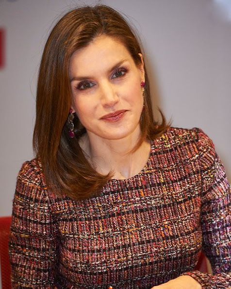 Queen Letizia of Spain attended a meeting with the Foundation of Aid Against Drug Addiction (FAD) at Headquarters of Banco Santander on December 19, 2016 in Madrid