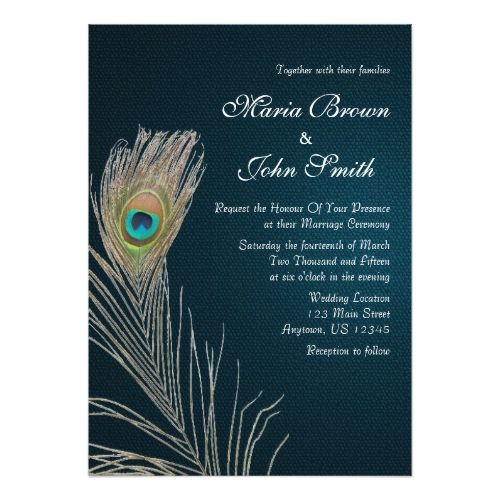 Peacock Wedding Invitations Simple Blue Peacock Feather Wedding Invite