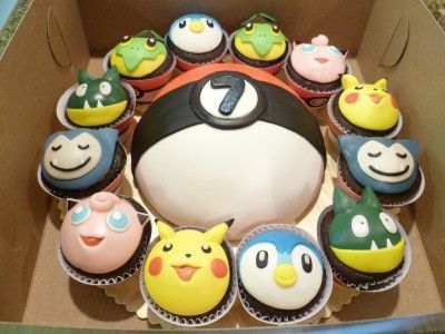 pokeball cake + pokemon cupcakes