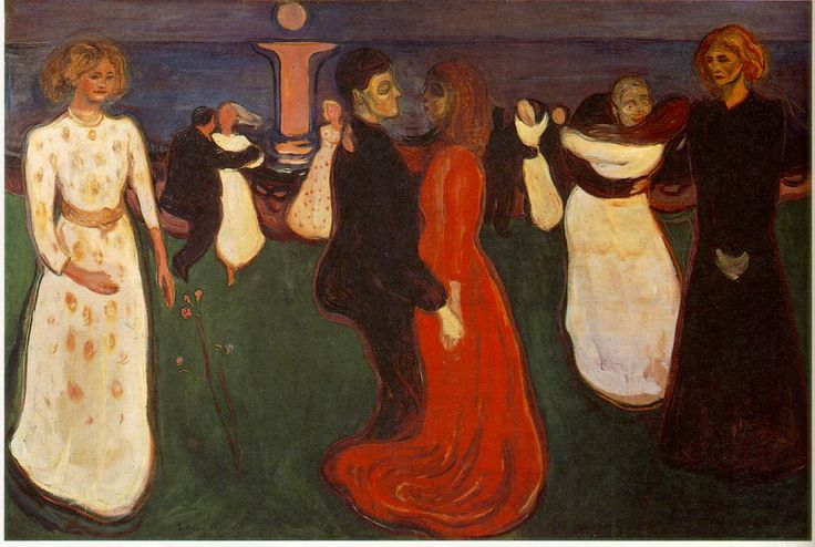 These two girls embody the orange dressed lady's fears and hopes, one being of death or abandonment, expressed by mourning (the black dress), the other of matrimony and happiness (the white dress). Edvard Munch - Dance Of Life