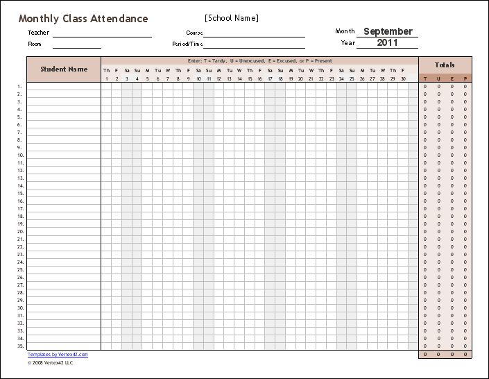 download the monthly class attendance template from 2015 pinterest attendance. Black Bedroom Furniture Sets. Home Design Ideas