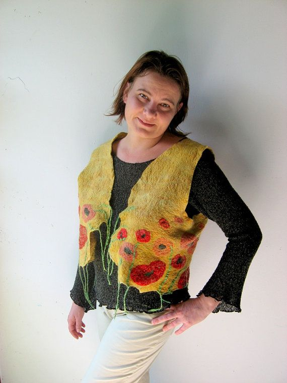 Felted  Vest  Poppy Field  mixed merino wool and by realfaery