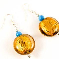 Boucles d'oreilles verre murano doré et perle bleue turquoise