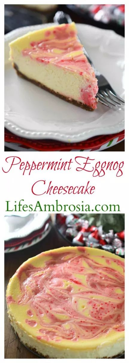 Luscious eggnog cheesecake is swirled with melted Hershey's Candy Cane Kisses in this Peppermint Eggnog Cheesecake making it a perfect holiday treat!