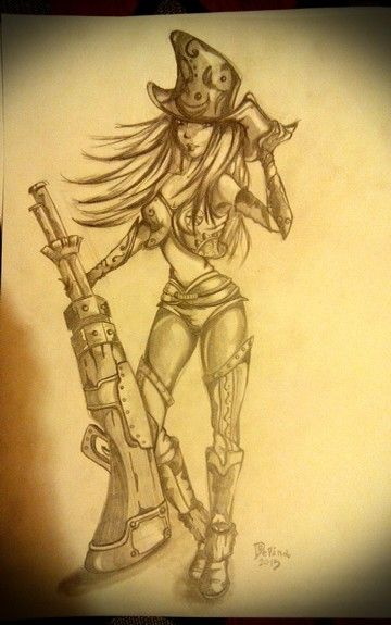 Caitlyn #lol #leagueoflegends #pencils #illustration #caitlyn #characterdesign #sketching #anime #animegirl