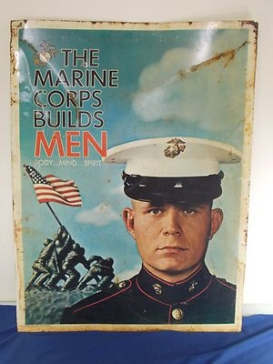 Vtg 1960's Marine Corps Recruiting Sign, 30 x 39 Double Sided Metal Sign Vietnam