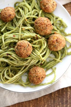 "Amazing Pesto Spaghetti with Vegan Meatballs made with Chickpeas. Vegetarian Chickpea Walnut ""meatballs"" over pesto pasta. Ready in 40 Minutes. Vegan Soyfree Recipe. Can be Glutenfree 