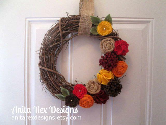 Fall Rustic Wreath, Fall Felt Burlap Flower Wreath, Orange Red Yellow Brown Burlap Wreath by AnitaRexDesigns on Etsy https://www.etsy.com/listing/246298043/fall-rustic-wreath-fall-felt-burlap