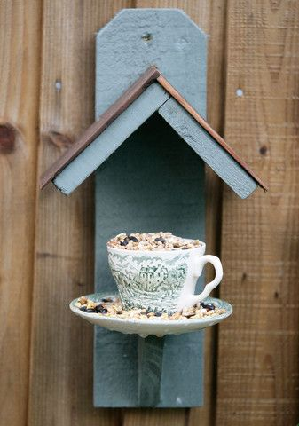 Teacup bird feeder - so cute for a garden fence